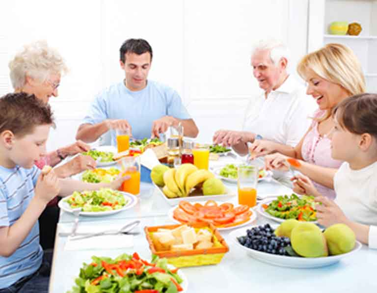 a family eating healthy foods together